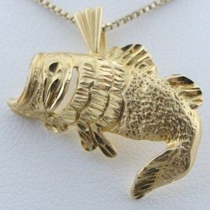 14k Gold Large Mouth Bass Fish Pendant Charm 92