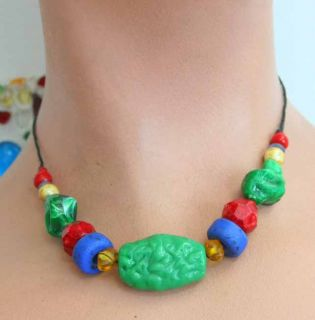 Teresa Goodall 90s Bohemian Glass Plastic Necklace