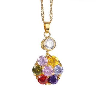 Fashion Lady Jewelry Round Cut Multi Colored Yellow Gold Plated