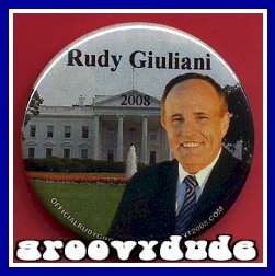 Rudy Giuliani 2008 President GOP Political Campaign Pin Button Badge