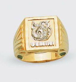 Mens Solid 14k Two Tone Gold Zodiac Ring Gemini