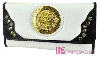 New Rachel Designer Inspired Golden Lion Enblem Studded Checkbook