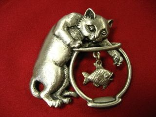 Tone Cat with Paw in Goldfish Bowl Dangling Fish by JJ Brooch