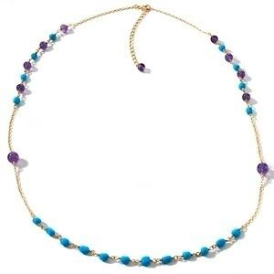 Heritage Gems Turquoise and Amethyst Vermeil Necklace