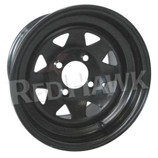 Black 8 Spoke 12x7 5 3 4 Offset Steel Golf Cart Wheel