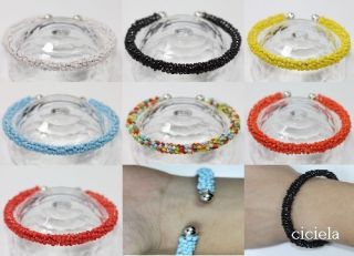 Handmade Classy Cuff Silver Crystal Glass Bead Bracelets