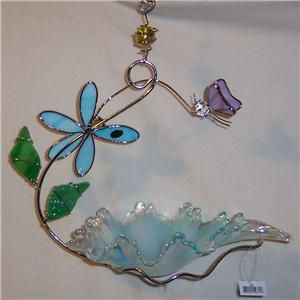 Blue Glass Bird Feeder with Pink Butterfly