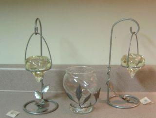 Candleholder Set Glass Metal 5pc Votive Candle Holders Teardrop Globe