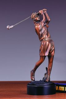 Lady Golfer Bronze Plated Statue Sculpture Figurine
