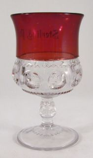 Antique Ruby Flash Glass Goblet Sterling Wayne County Pennsylvania