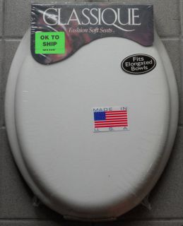 Ginsey Soft Toilet Seat Elongated White Made in USA