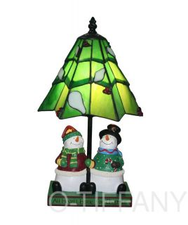 Tiffany Style Stained Glass Accent Lamp Snowman Pair