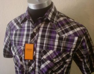 NWT Purple/Black/White Plaid Pearl Snap Rockabilly Cowboy Western Club