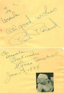 RUTH ROLAND + MINNA GOMBELL VINTAGE 1934 ORIGINAL SIGNED ALBUM PAGE