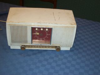 Vintage General Electric Am Radio Alarm Clock 1953 White