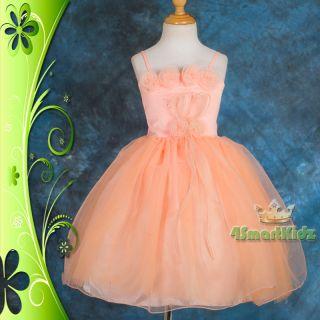 Beaded Orange Rosette Formal Dress Wedding Flower Girl Occasion Party