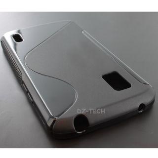 Black S Line Gel TPU Case Skin Cover T Mobile Google LG Nexus 4 E960