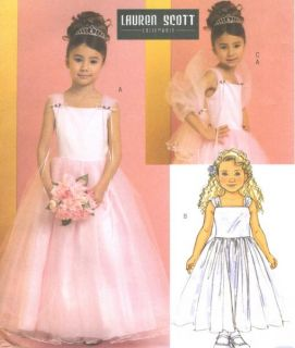 Girls Childs Evening Dress Wrap Sewing Pattern Tea Length Petticoat