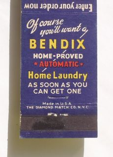 Matchbook Bendix Home Laundry L B Lau Son Glen Rock PA York Co