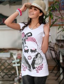 Girls Sexy Lady Free Shipping rendy Crew Coon Summer  shir ee