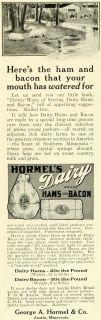 1911 Ad George A. Hormel Dairy Ham Bacon Pork Hogs Pigs Farm Pasture
