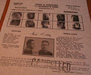George Machine Gun Kelly 1930s FBI Wanted Reward Poster