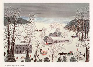 Grandma Moses Print Country Winter Scene Sugaring