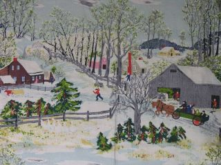 Vintage Grandma Moses Fabric Early Springtime on The Farm Huge Panel
