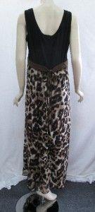 Susan Graver 1X Animal Print Chiffon Maxi Dress w/Liquid Knit Bodice