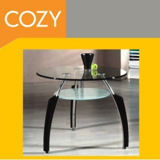 Asian Cuba Contemporary Round Glass End Table Modern