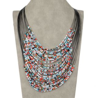 Colorful Multilayer Glass Beads Jewelry Pendant Necklace Earrings Set