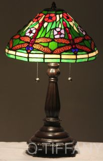 Tiffany Style Stained Glass Table Lamp Dragonfly Pond
