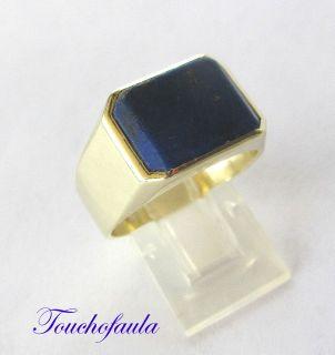Gold Ring High Polish Inlaid with Lapis Lazuli 11 0 Grams