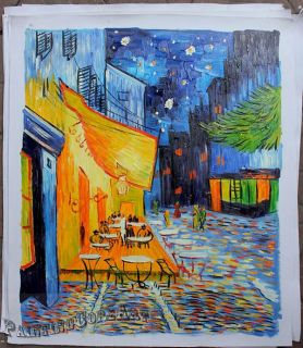 Hand Painted Van Gogh Cafe de Terrace at Night Oil Painting Canvas Art