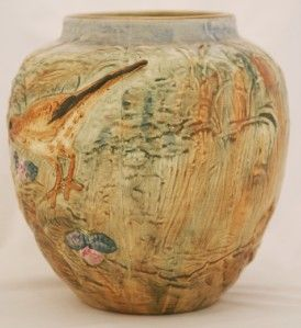 Weller Glendale 8 25 Bulbous Vase Terns with Nest Mint