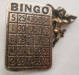 Vintage Lucky Bingo Card Angel Pin Gold Tone MM05