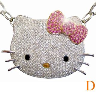 Good Luck 2 00 Carat Hello Kitty Diamond Pendant Jewelry Necklace 18K
