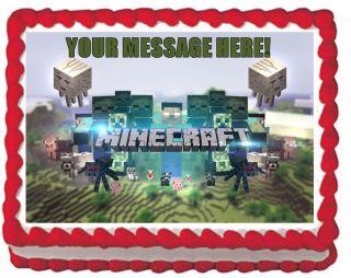 Minecraft Animals Grassy eme QUARTER SHEET Edible Cake Topper Image