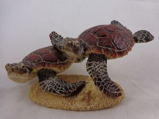 Turtle Figurine Brown Green Polyresin Statue Swimming Turtles Family 5