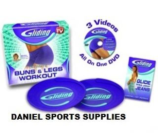 Exercise Gliding Discs Complete Set DVD Gliders Bums Thighs Legs Home
