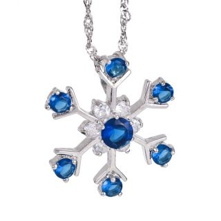 Fashion Lady Jewelry Snow Flower Blue Sapphire White Gold Plated GP
