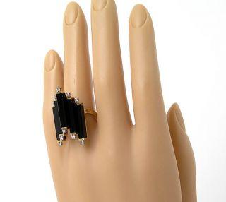 Stylish Vintage 14k Gold Diamonds Staggered Onyx Ring