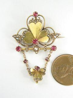 Beautiful Antique Russian 14k Gold Ruby Pearl Pin Brooch C1910