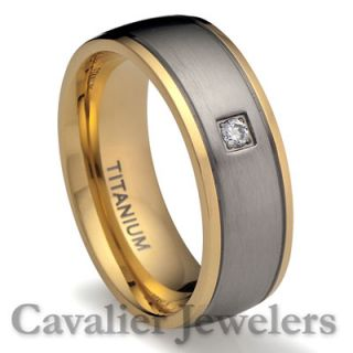 Mens Titanium 18K Gold Plated Ring Wedding Band Simulated Diamond 2504