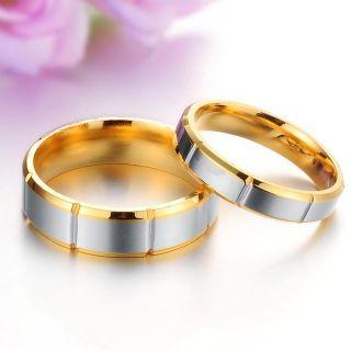 Fashion Titanium Steel Gold Ring Couple Wedding Bands Shine Jewelry