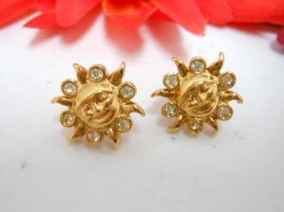 Avon Gold Tone Rhinestone Smiley Face Sun Stud Earrings M1788