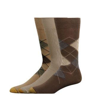 Gold Toe Mens Casual Socks Argyle Brown Dust Khaki 3P
