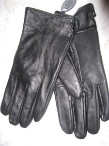New Womens Black Leather Gloves Sz XXL Emanuel Geraldo