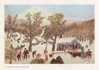 Grandma Moses Print Maple Syrup Camp Sugar Time