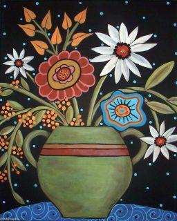 Green Vase Flowers Needlepoint Canvas 9 x 12 18ct Karla Gerard